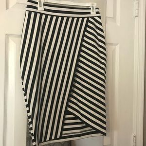 Black and White Striped Express Pencil Skirt